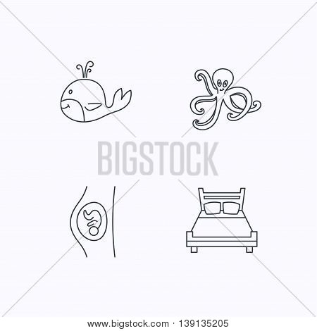 Whale, octopus and double bed  icons. Pregnancy linear sign. Flat linear icons on white background. Vector