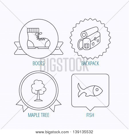 Maple tree, fish and hiking boots. Backpack linear sign. Award medal, star label and speech bubble designs. Vector