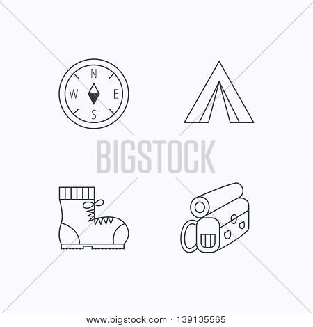 Compass, camping tent and hiking boots icons. Backpack linear sign. Flat linear icons on white background. Vector