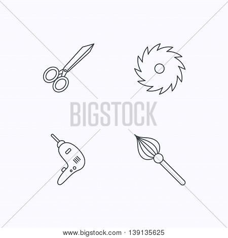 Scissors, drill and repair tools icons. Circular saw and brush linear signs. Flat linear icons on white background. Vector