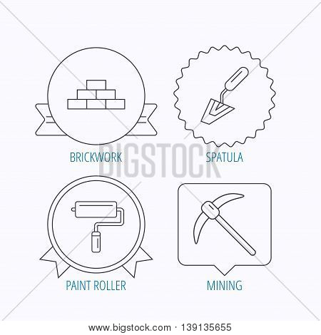 Brickwork, spatula and mining icons. Paint roller linear sign. Award medal, star label and speech bubble designs. Vector