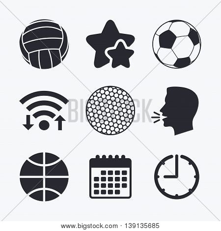 Sport balls icons. Volleyball, Basketball, Soccer and Golf signs. Team sport games. Wifi internet, favorite stars, calendar and clock. Talking head. Vector