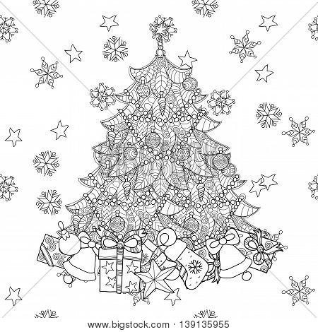 Christmas fir tree with gifts. Hand drawn doodle zen art.Adult anti stress coloring book or tattoo