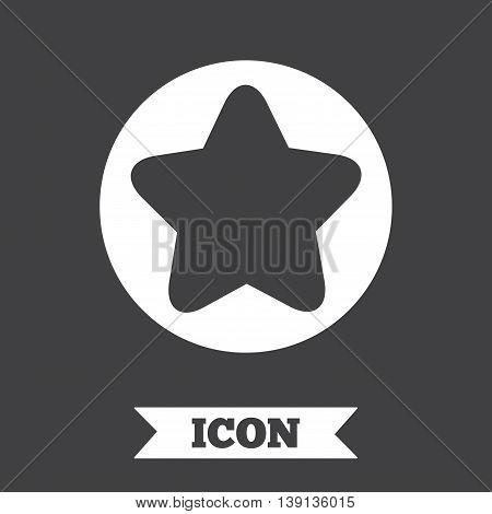 Star sign icon. Favorite button. Navigation symbol. Graphic design element. Flat star symbol on dark background. Vector