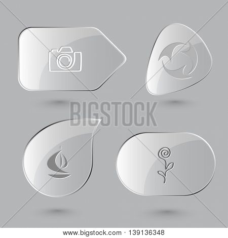 4 images: camera, recycle symbol, ship, flower. Abstract set. Glass buttons on gray background. Vector icons.