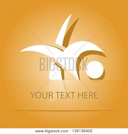 unique abstract forms. Paper orange sticker as bookmark. Vector illustration.