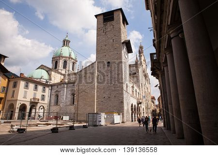 MILAN ITALY - JUNE 12: Como cathedral dedicated to the Assumption of the Blessed Virgin Mary on June 12 2016