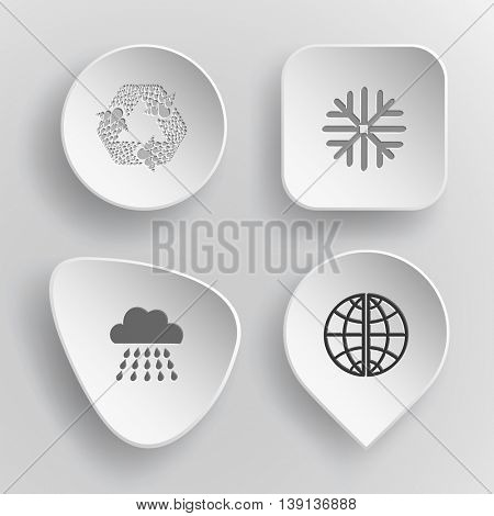 4 images: recycle symbol, snowflake, rain, globe. Weather set. White concave buttons on gray background. Vector icons.