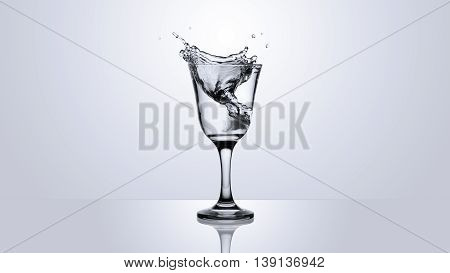 Water Splash In Glass Isolated On Gradient Background