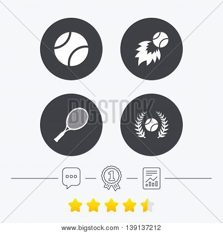 Tennis ball and racket icons. Fast fireball sign. Sport laurel wreath winner award symbol. Chat, award medal and report linear icons. Star vote ranking. Vector