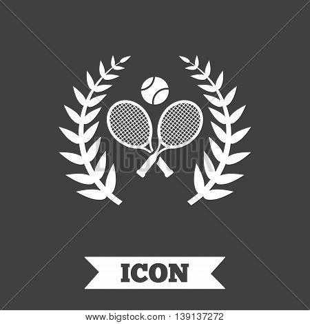 Tennis rackets with ball sign icon. Sport laurel wreath symbol. Winner award. Graphic design element. Flat tennis symbol on dark background. Vector