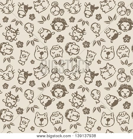 Chinese zodiac animal signs seamless pattern the twelve horary signs