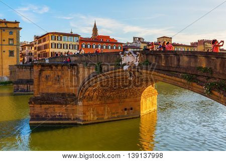 City View At Ponte Santa Trinita In Florence, Italy