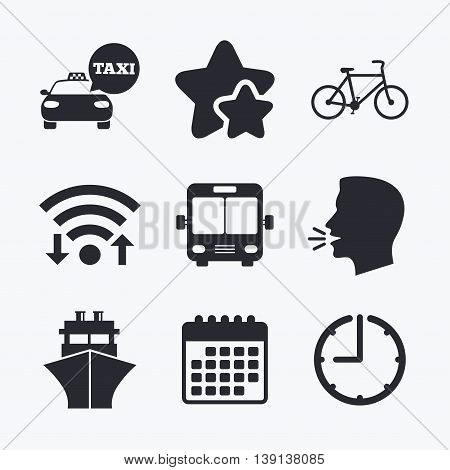 Transport icons. Taxi car, Bicycle, Public bus and Ship signs. Shipping delivery symbol. Speech bubble sign. Wifi internet, favorite stars, calendar and clock. Talking head. Vector