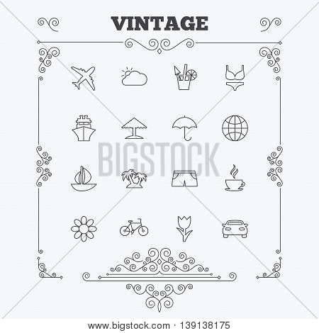 Travel icons. Ship, plane and car transport. Beach umbrella, palms and cocktail. Swimming trunks. Rose or tulip flower. Vintage ornament patterns. Decoration design elements. Vector