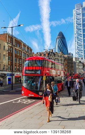 Street View At Bishopsgate In The City Of London, London, Uk