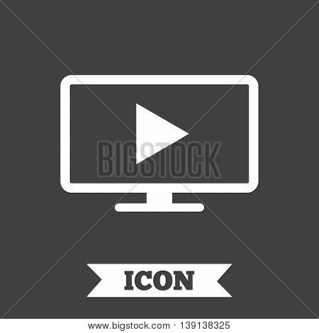 Widescreen TV mode sign icon. Television set symbol. Graphic design element. Flat tV mode symbol on dark background. Vector