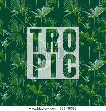 Tropical Palm Leaves Exotic Background. Vector Banner. T-shirt Graphic Design
