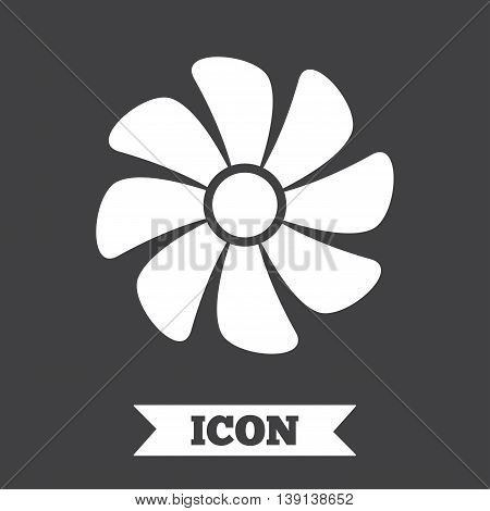 Ventilation sign icon. Ventilator symbol. Graphic design element. Flat ventilation symbol on dark background. Vector