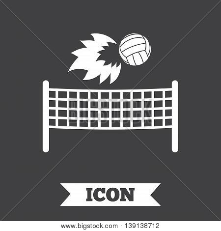 Volleyball net with fireball sign icon. Beach sport symbol. Graphic design element. Flat volleyball symbol on dark background. Vector