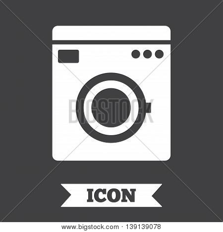 Washing machine icon. Home appliances symbol. Graphic design element. Flat washing machine symbol on dark background. Vector