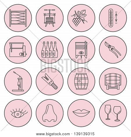 Set of winemaking and wine tasting icons in modern thin line style isolated on pinkbackground. High quality outline symbol collection. Simple mono linear pictogram pack. Stroke raster logo concept