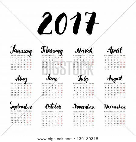 Calendar 2017 Year One Sheet, Vector Hand Drawn Month Lettering, Week Starts Monday.