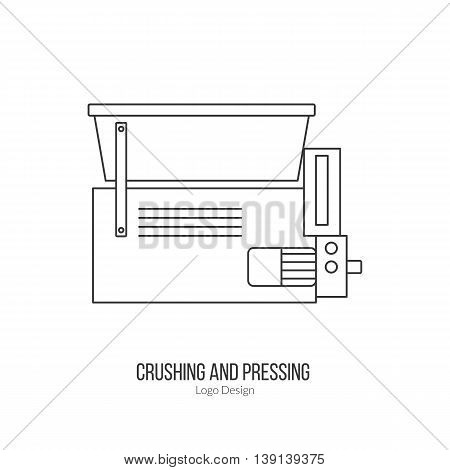 Grape crusher destemmer. Single logo in modern thin line style isolated on white background. Outline winery symbol. Simple mono linear pictogram. Stroke raster logotype template.
