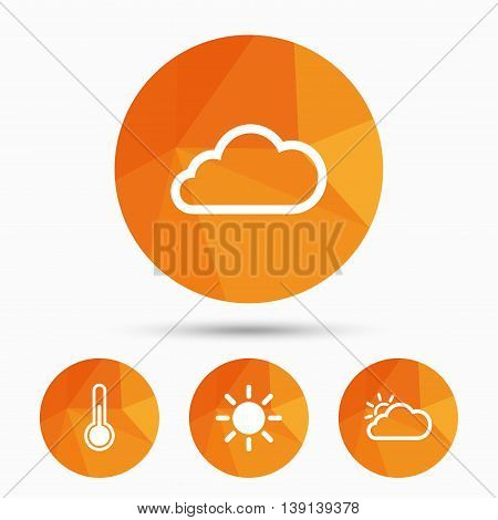 Weather icons. Cloud and sun signs. Thermometer temperature symbol. Triangular low poly buttons with shadow. Vector