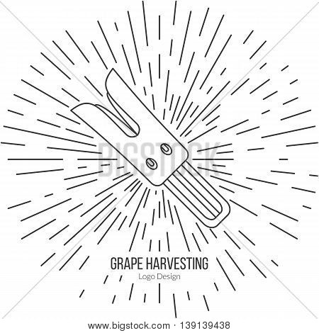 Grape razor fork with star burst. Single logo in modern thin line style isolated on white background. Outline winery symbol. Simple mono linear pictogram. Stroke raster logotype template.