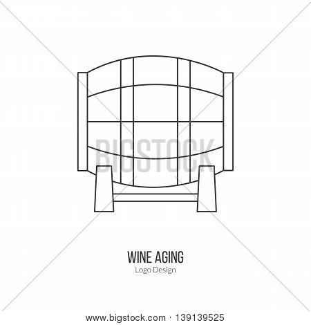 Oak wine barrel. Single logo in modern thin line style isolated on white background. Outline winery symbol. Simple mono linear pictogram. Stroke vector logotype template.