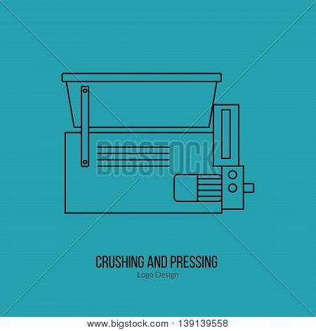 Grape crusher destemmer. Single logo in modern thin line style isolated on green background. Outline winery symbol. Simple mono linear pictogram. Stroke vector logotype template.