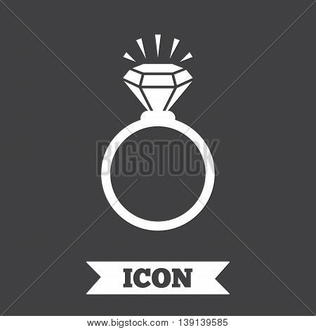 Ring sign icon. Jewelry with shine diamond symbol. Wedding or engagement day symbol. Graphic design element. Flat jewelry symbol on dark background. Vector