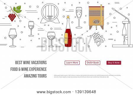 raster website banner landing page template with buttons. Design elements of grape cultivation wine making alcoholic beverage sales and wine tasting. Isolated winery symbols in flat thin line style
