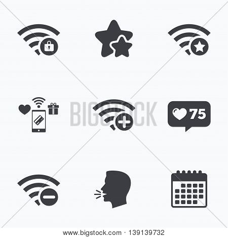 Wifi Wireless Network icons. Wi-fi zone add or remove symbols. Favorite star sign. Password protected Wi-fi. Flat talking head, calendar icons. Stars, like counter icons. Vector