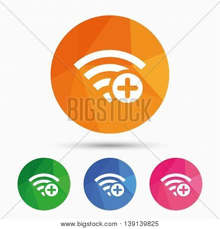 Wifi plus sign. Add Wi-fi symbol. Wireless Network icon. Wifi zone. Triangular low poly button with flat icon. Vector