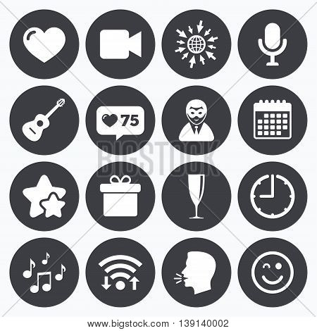Calendar, wifi and clock symbols. Like counter, stars symbols. Party celebration, birthday icons. Carnival, guitar and champagne glass signs. Gift box, music and video camera symbols. Talking head, go to web symbols. Vector
