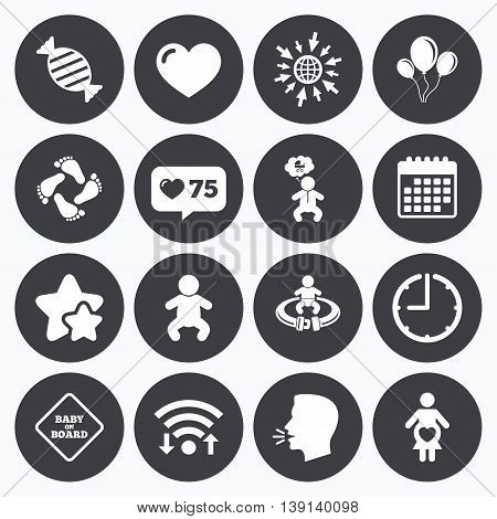 Calendar, wifi and clock symbols. Like counter, stars symbols. Pregnancy, maternity and baby care icons. Candy, strollers and fasten seat belt signs. Footprint, love and balloon symbols. Talking head, go to web symbols. Vector