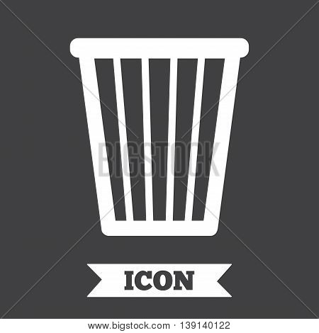 Recycle bin sign icon. Bin symbol. Graphic design element. Flat recycle bin symbol on dark background. Vector