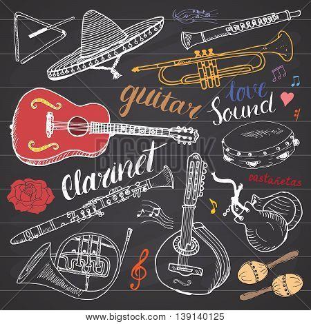 Music Instruments Set. Hand Drawn Sketch, Vector Illustration On Chalkboard.