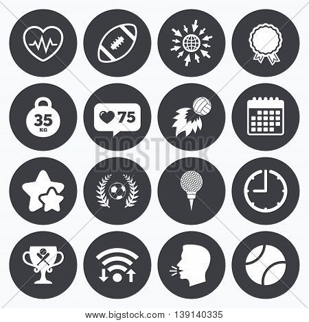 Calendar, wifi and clock symbols. Like counter, stars symbols. Sport games, fitness icons. Football, golf and baseball signs. Heartbeat, rugby and laurel wreath symbols. Talking head, go to web symbols. Vector