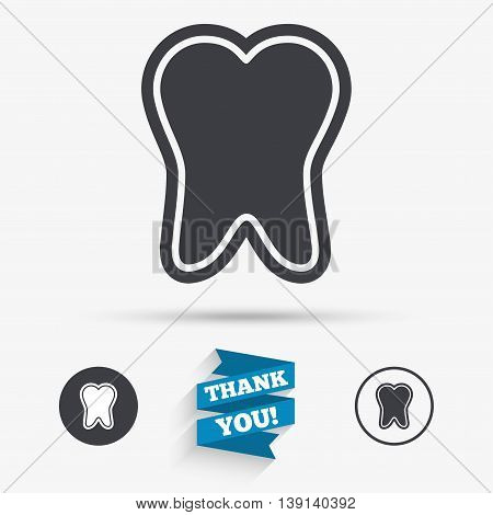 Tooth enamel protection sign icon. Dental toothpaste care symbol. Healthy teeth. Flat icons. Buttons with icons. Thank you ribbon. Vector
