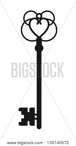 Vintage antique key, black silhouette isolated on white background. Vector illustration