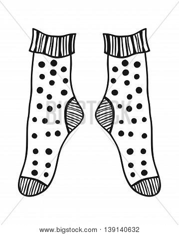 Pair of doodle socks isolated on white background. Clothing, accessory. Vector illustration.