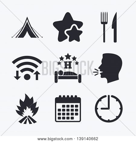 Food, sleep, camping tent and fire icons. Knife and fork. Hotel or bed and breakfast. Road signs. Wifi internet, favorite stars, calendar and clock. Talking head. Vector