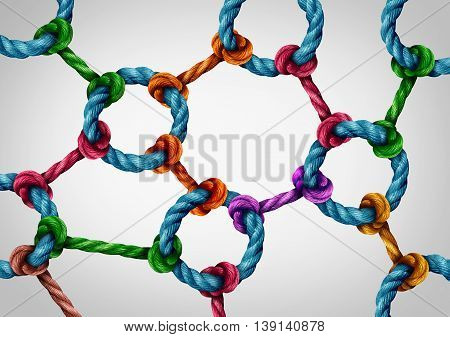 Web connection network as a social media networking structure symbol made of a group of diverse ropes connected together by a circle rope icon as a global communication technology metaphor for system integration.