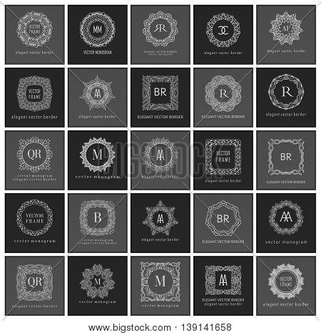 Monogram sign logo and emblem badge collection. Line art style. Ornate background. Luxury emblem monogram logo template. Calligraphic elegant flourishes ornament set. Vector simplicity elegance.