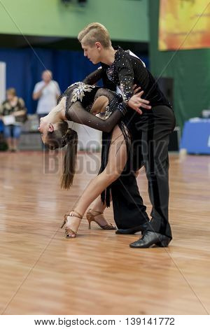 Minsk Belarus -May 29 2016: Dubovik Timophey and Zagrebailova Yana Perform Youth-2 Latin-American Program on National Championship of the Republic of Belarus in May 29 2016 in Minsk Belarus