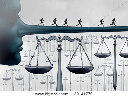 Above the law and unfair advantages concept or committing perjury symbol as a group of culprits escaping justice by running on a long liar nose over law scales as a rigged system metaphor for corruption and fraud or lack of integrity with 3D illustration