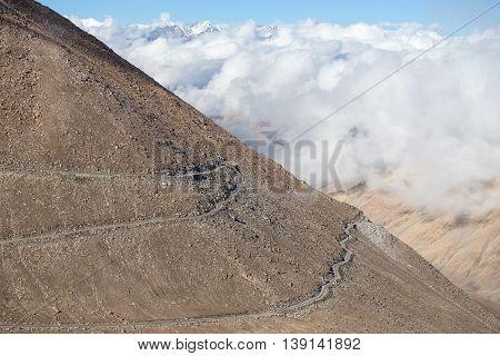 Himalayan landscape in Himalayas along Manali - Leh highway. Himachal Pradesh Ladakh India